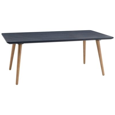 Carsyn Wooden Rectangular Coffee Table, 120cm, Marine Blue / Oak