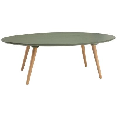 Carsyn Wooden Oval Coffee Table, 120cm, Pickle Green / Oak
