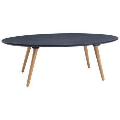 Carsyn Wooden Oval Coffee Table, 120cm, Marine Blue / Oak