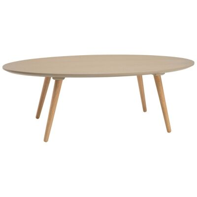 Carsyn Wooden Oval Coffee Table, 120cm, Taupe / Oak