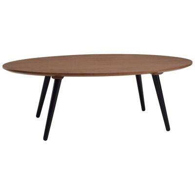 Carsyn Wooden Oval Coffee Table, 120cm, Cocoa / Black
