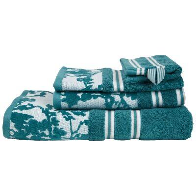 Beddinghouse Van Gogh Almond Blossom Silhouette Cotton Bath Towel, Teal Blue