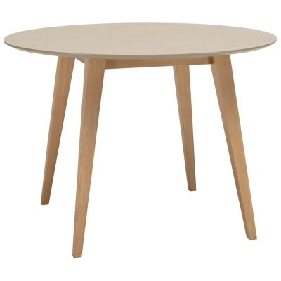 Platon Round Dining Table, 106cm, Taupe / Natural