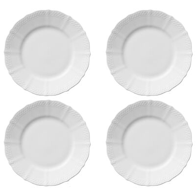 Noritake Cher Blanc Fine China Entrée Plate, Set of 4