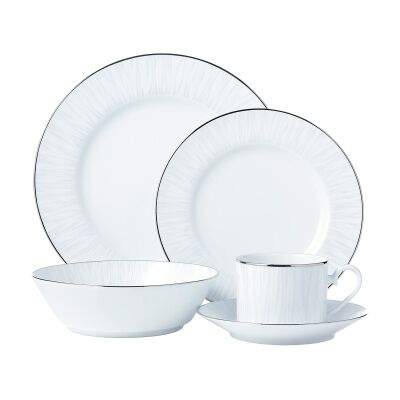 Noritake Glacier Platinum 20 Piece Fine Porcelain Dinner Set