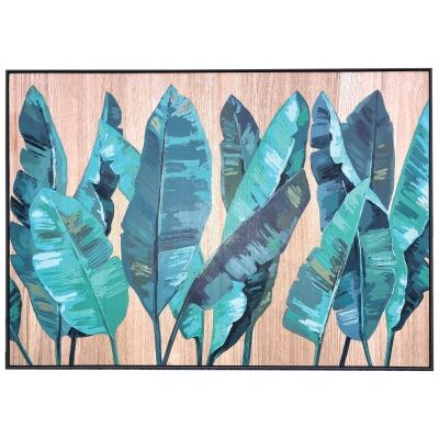 Tropicana Printed Wooden Wall Art, Turquoise Banana Leaves, 102cm