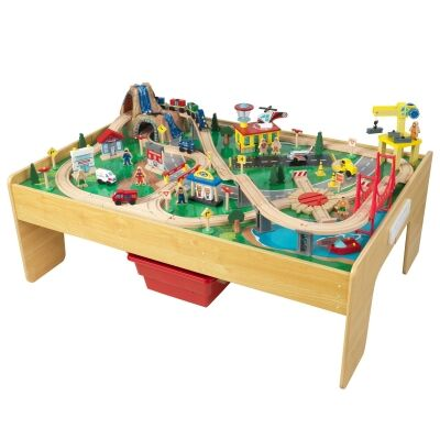 KidKraft Adventure Town Railway Train Set & Table with EZ Kraft Assembly