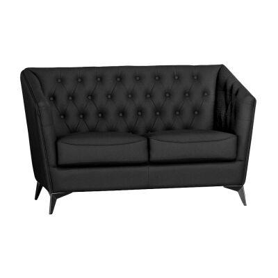 Roche Faux Leather Sofa, 2 Seater, Black