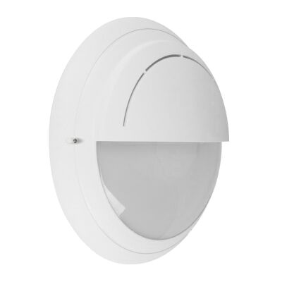 Polyring IP65 Italian Made Exterior Bunker Wall Light, Eyelid, Round, White