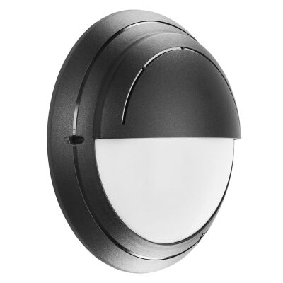 Polyring IP65 Italian Made Exterior Bunker Wall Light, Eyelid, Round, Black