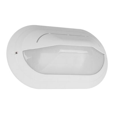 Polyring IP65 Italian Made Exterior Bunker Wall Light, Eyelid, Large Oval, White