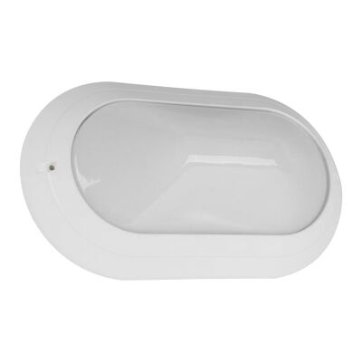 Polyring IP65 Italian Made Exterior Bunker Wall Light, Plain, Large Oval, White