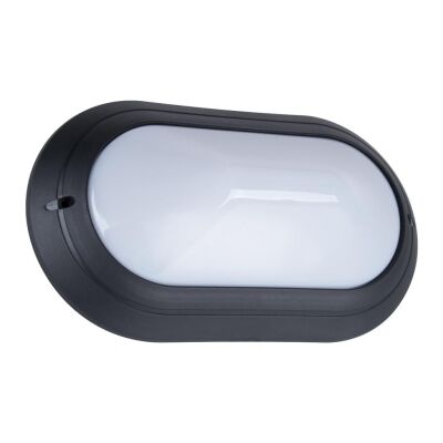 Polyring IP65 Italian Made Exterior Bunker Wall Light, Plain, Large Oval, Black