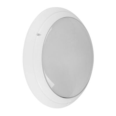 Polyring IP65 Italian Made Exterior Bunker Wall Light, Plain, Round, White