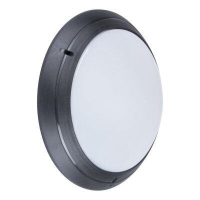 Polyring IP65 Italian Made Exterior Bunker Wall Light, Plain, Round, Black