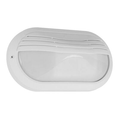 Polyring IP65 Italian Made Exterior Bunker Wall Light, Eyelid, Small Oval, White