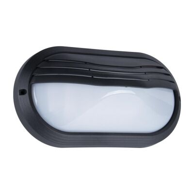 Polyring IP65 Italian Made Exterior Bunker Wall Light, Eyelid, Small Oval, Black