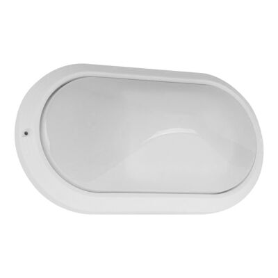 Polyring IP65 Italian Made Exterior Bunker Wall Light, Plain, Small Oval, White