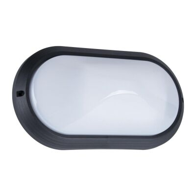 Polyring IP65 Italian Made Exterior Bunker Wall Light, Plain, Small Oval, Black