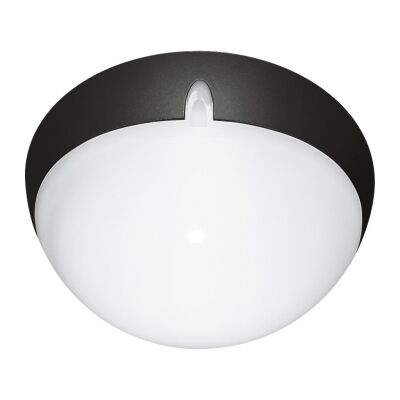 Polydome IP66 Italian Made Exterior Ceiling Light, Small, Black