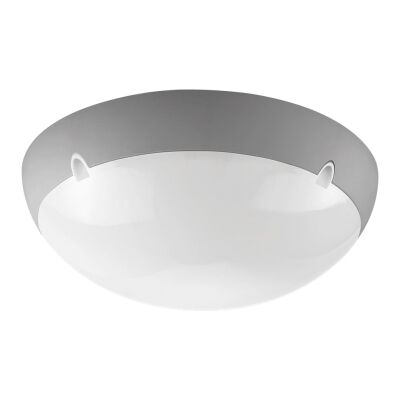 Polydome IP66 Italian Made Exterior Ceiling Light, Large, Silver
