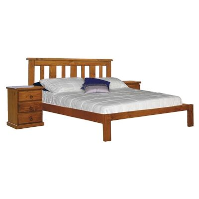 Gina New Zealand Pine Timber Bed, King Single, Blackwood