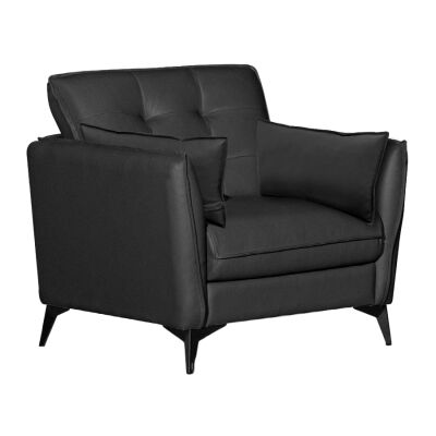 Rossiter Leather Armchair, Black