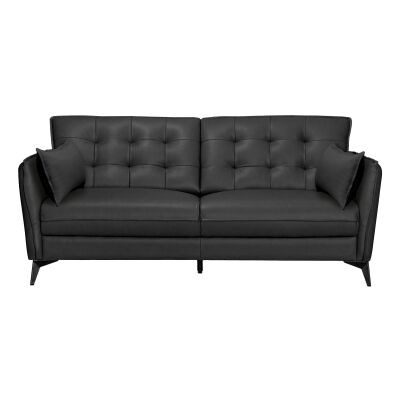 Rossiter Leather Sofa, 2 Seater, Black