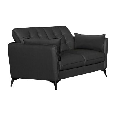Rossiter Leather Sofa, 3 Seater, Black