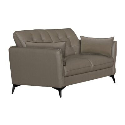 Rossiter Leather Sofa, 3 Seater, Stone