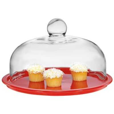 Chasseur La Cuisson Cake Platter with Lid - Red