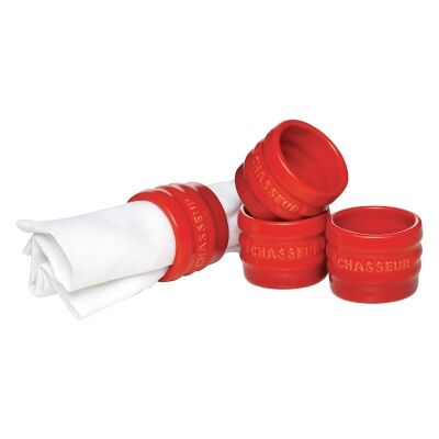 Chasseur La Cuisson Set of 4 Napkin Rings - Red