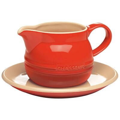Chasseur La Cuisson 450ml Gravy Boat with Saucer - Red