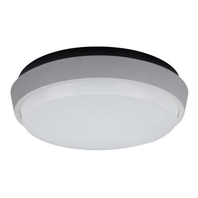 Disc IP54 Indoor / Outdoor LED Oyster Light, 3000K, 24cm, Silver