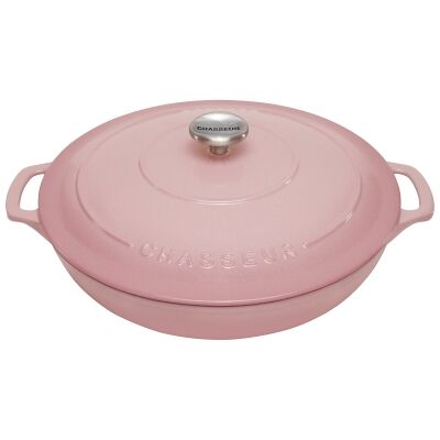 Chasseur Cast Iron Round Casserole, 30cm, Cherry Blossom