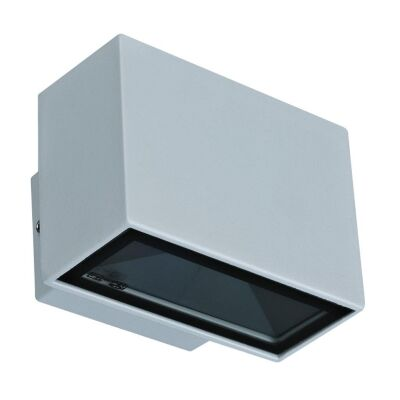 Block IP65 Exterior Two Way LED Wall Light, 5000K, Mini, Silver