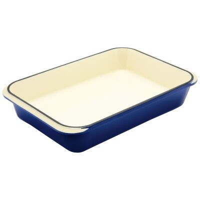 Chasseur Cast Iron Rectangular Roaster, 40x26cm, French Blue