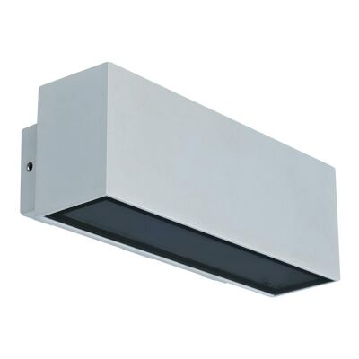 Block IP65 Exterior Two Way LED Wall Light, 3000K, Wide, Silver
