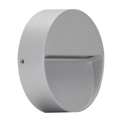Zeke IP65 Exterior Surface Mounted LED Steplight, 3000K, Mini  Round, Silver