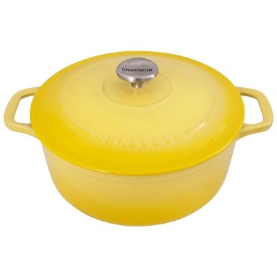 Chasseur Cast Iron Round French Oven, 26cm, Lemon Yellow