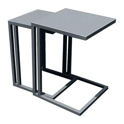 Cleton 2 Piece Aluminum Nesting Table Set, Grey