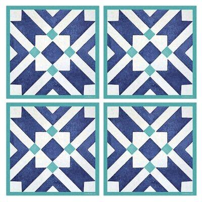Telki Milano Marsala Italian Made Square Coaster, Set of 4, Blue