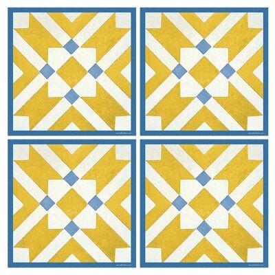 Telki Milano Marsala Italian Made Square Coaster, Set of 4, Yellow