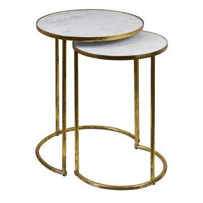 Alexios 2 Piece Steel & Marble Side Table Set