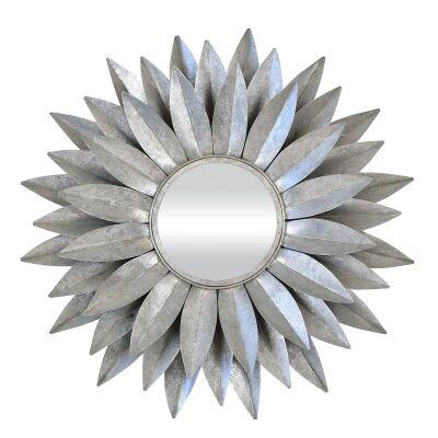Dahlia Metal Frame Wall Mirror, 88cm, Vintage Silver