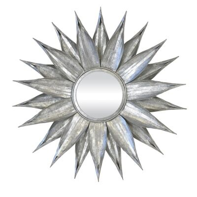 Zinnia Metal Frame Wall Mirror, 76cm, Vintage Silver