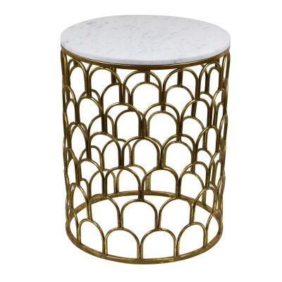 Stavros Iron & Marble Side Table