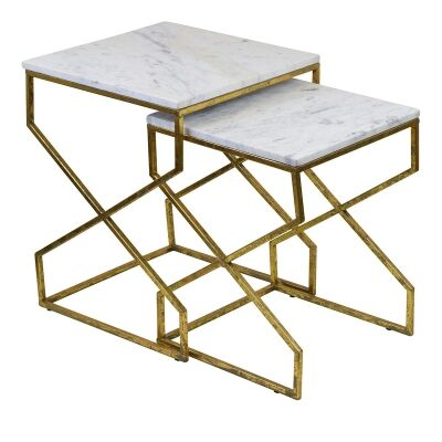 Andreas 2 Piece Iron & Marble Side Table Set