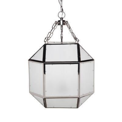 Arena Metal & Glass Pendant Light, Medium, Nickel
