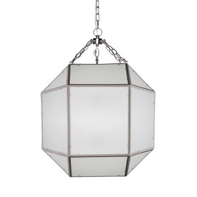 Arena Metal & Glass Pendant Light, Large, Nickel
